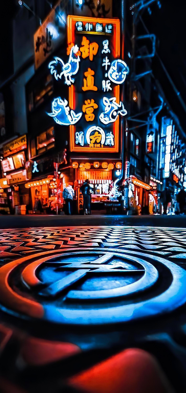 Wallpaper Night Neon Sign Blue Light Lighting Background Download Free Image
